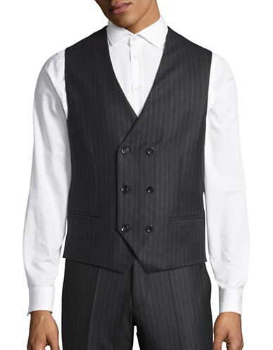 Haight And Ashbury Wool Chalk Stripe Vest-CHARCOAL-Large