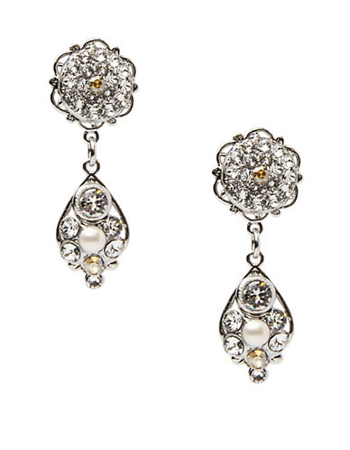 Thomas Knoell Paige Pave Pendant Drop Earrings-IVORY-One Size