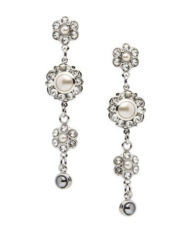 Thomas Knoell Plume Faux Pearl Drop Earrings-CRYSTAL PEARL-One Size