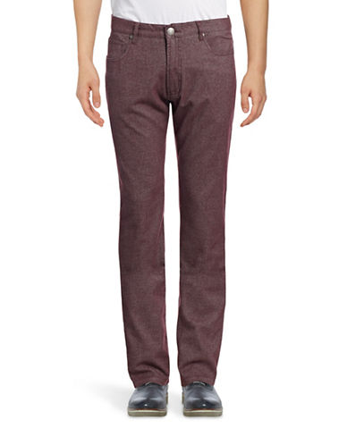 Haight And Ashbury Bristol Tonal Five-Pocket Slim Pants-RED-38