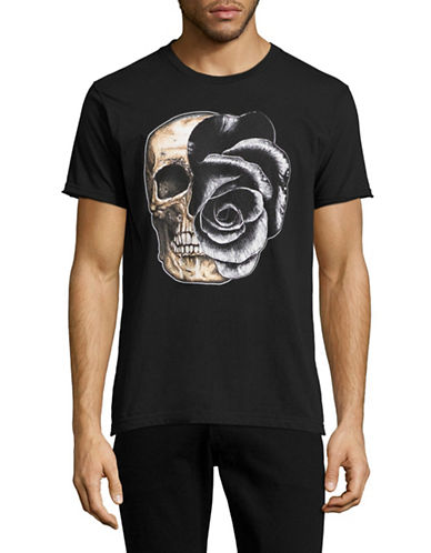 Dom Rebel Rose Skull T-Shirt-BLACK-X-Large