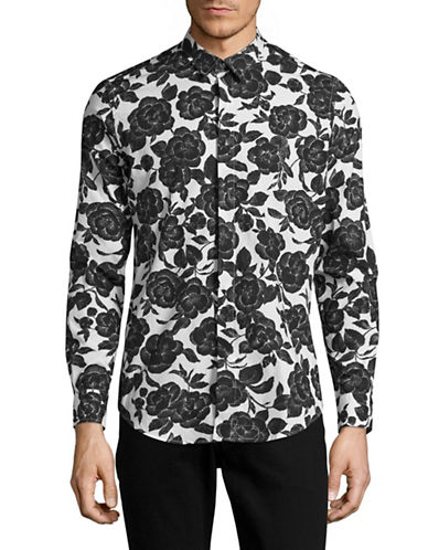 Msgm Boxed Rose Print Poplin Shirt-BLACK/WHITE-Medium/Large