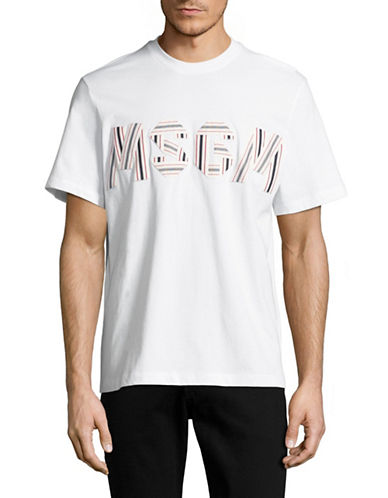 Msgm Embroidered Logo T-Shirt-WHITE-Medium 88915673_WHITE_Medium
