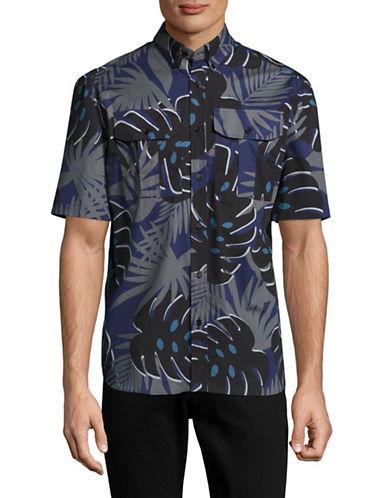 Markus Lupfer Monstera Print Harrison Short Sleeve Shirt-GREY-Small
