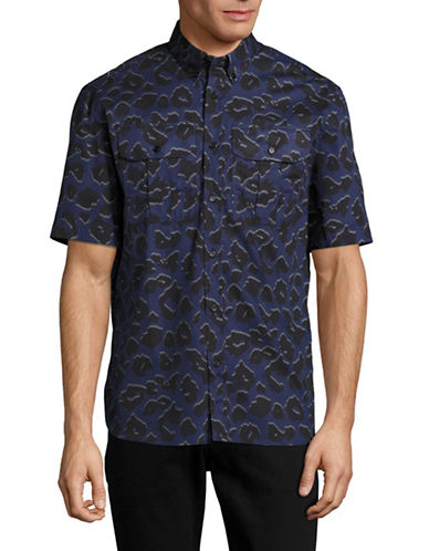Markus Lupfer Leopard Print Harrison Short Sleeve Shirt-CHARCOAL-X-Small