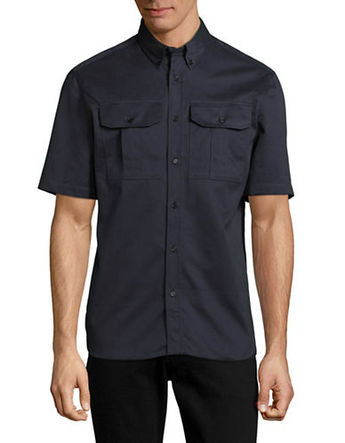 Markus Lupfer Harrison Short Sleeve Shirt-BLUE-Small