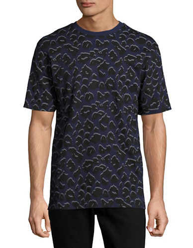Markus Lupfer Leopard Print and Lines Jake T-Shirt-BLUE-Medium