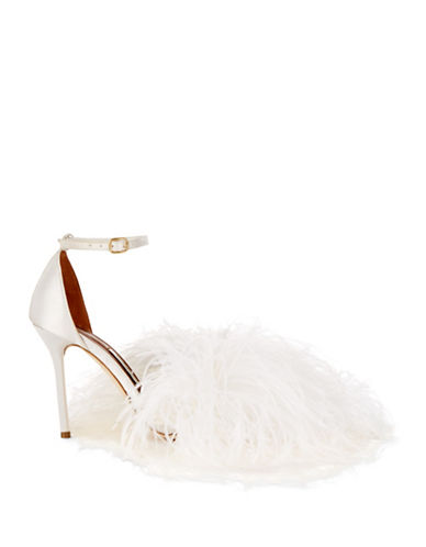 Malone Souliers Nicoletta Ostrich Feather Sandals-NUDE WHITE-EUR 38/US 8