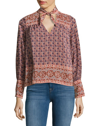 Sea Ny Scarf Tie Neck Blouse-RED-4
