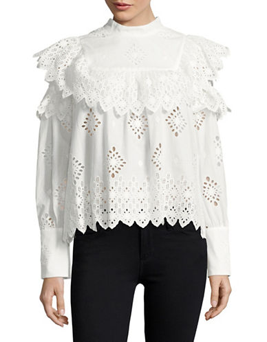 Sea Ny Eyelet Cold-Shoulder Top-WHITE-4