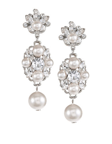 Laura Jayne Faux Pearl and Stone Drop Earrings-SILVER CREAM-One Size