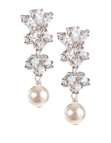 Laura Jayne Two-Tier Marquis Pearl Drop Earrings-SILVER CREAM CZ-One Size