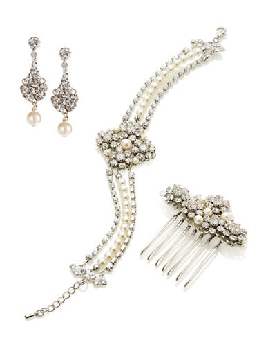 Laura Jayne Classic Bridal Comb Earrings and Bracelet Set-SILVER CREAM CRYSTAL-One Size