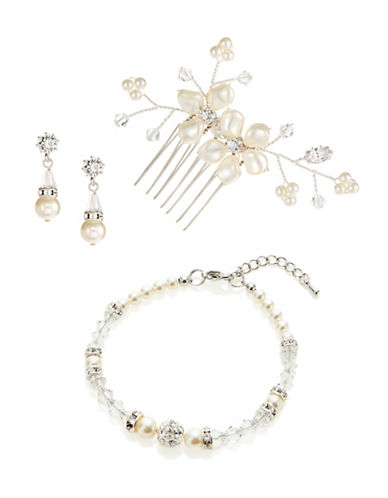 Laura Jayne Three-Piece Pearl Floral Comb Earrings and Bracelet Set-SILVER CREAM CRYSTAL-One Size