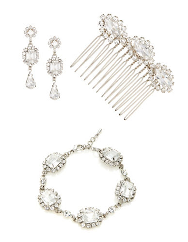 Laura Jayne Hollywood Glam Comb Earrings and Bracelet Set-SILVER CRYSTAL-One Size