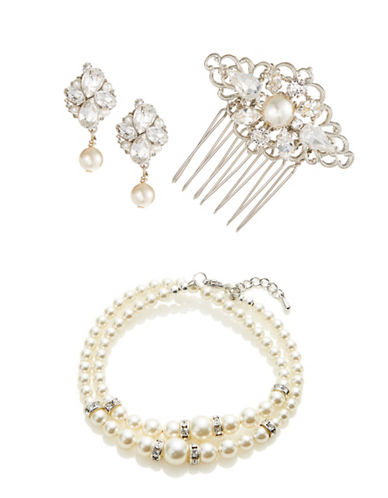 Laura Jayne Three-Piece Faux Pearl Comb Bracelet and Earrings Set-SILVER CREAM CRYSTAL-One Size