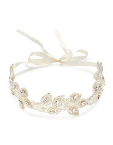 Laura Jayne Sonnet Marquis Leaf Garland Hair Ribbon-SILVER IVORY-One Size