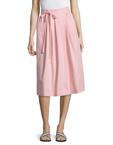 Horses Atelier Patch Pocket Tie Midi Skirt-PINK-1