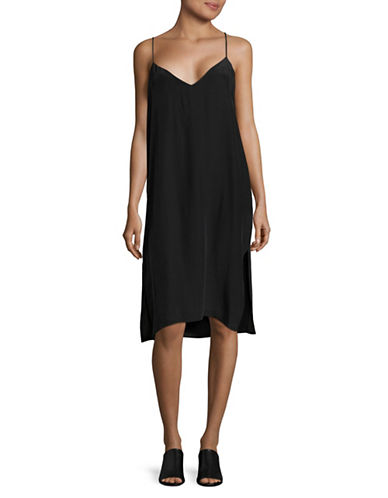 Horses Atelier V-Neck Silk Slip Dress-NAVY-1