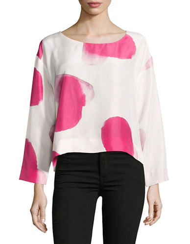 Horses Atelier Long Sleeve Printed Silk Top-WHITE MULTI-0