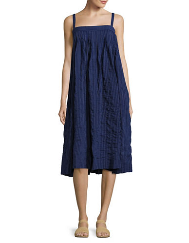 Horses Atelier Pleated Midi Striped Sundress-BLUE-2