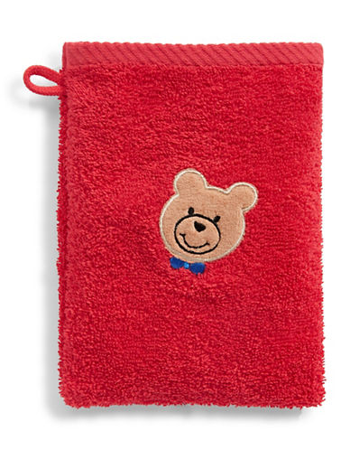 Bob Der Bar Bow Tie Bear Cotton Towel Mitt-RED-Finger Tip Towel