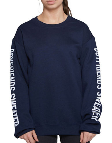 Image of Adolescent Clothing Boyfriend Crew Neck Sweater-BLUE-Large