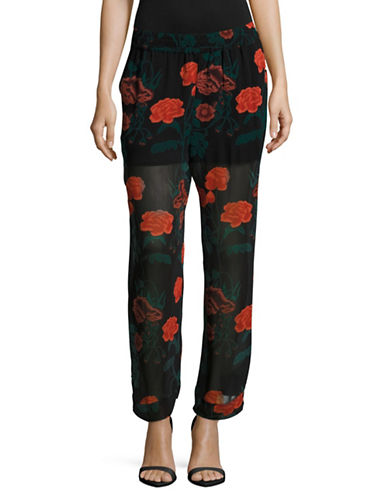 Ganni Wide-Leg Floral Pants-BLACK MULTI-36