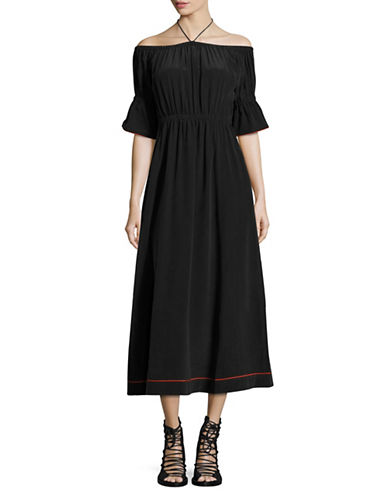 Ganni Off-The-Shoulder Silk Maxi Dress-BLACK-38