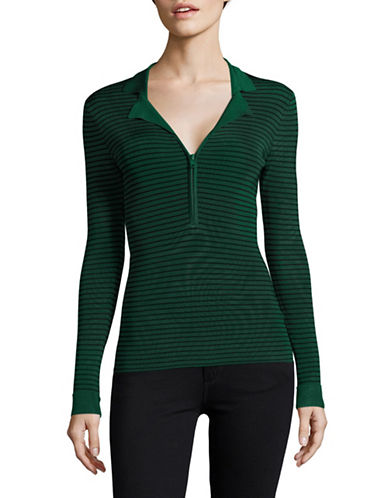 Ganni Striped Half-Zip Notch Collar Top-GREEN-Medium 89056745_GREEN_Medium