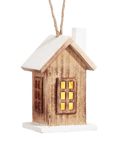 Glucksteinhome Noel Blanc Light-Up Wooden House Ornament-NATURAL-One Size