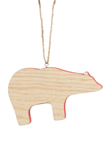 Christmas Street Winter Chalet Wood Bear Ornament-NATURAL-One Size