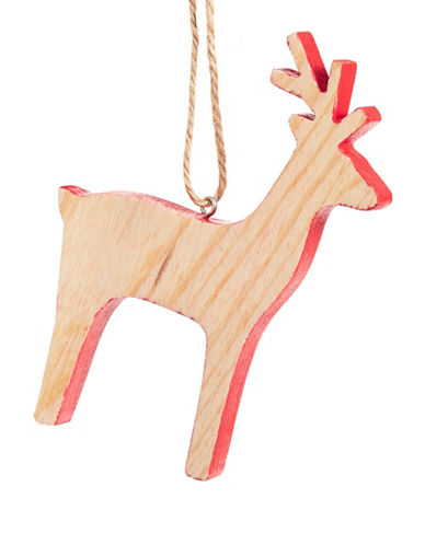 Christmas Street Winter Chalet Wood Deer Ornament-NATURAL-One Size