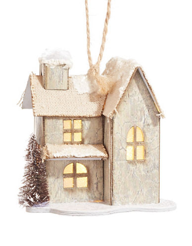 Glucksteinhome Noel Blanc LED Paper House Ornament-NATURAL-One Size