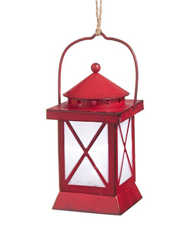 Glucksteinhome Noel Blanc LED Lantern Ornament-RED-One Size