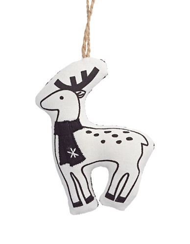 Christmas Street Winter Chalet Stuffed Reindeer Ornament-WHITE-One Size