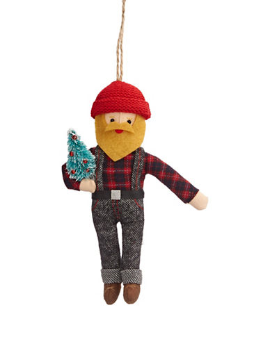 Christmas Street Winter Chalet Plush Lumberjack Ornament-MULTI-One Size