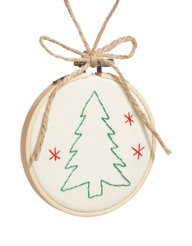 Christmas Street Winter Chalet Stitch Tree Ornament-WHITE-One Size