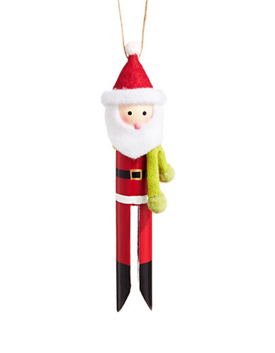 Christmas Street Winter Chalet Wooden Santa Peg Ornament-MULTI-One Size