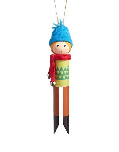 Christmas Street Winter Chalet Wooden Boy Peg Ornmanent-MULTI-One Size