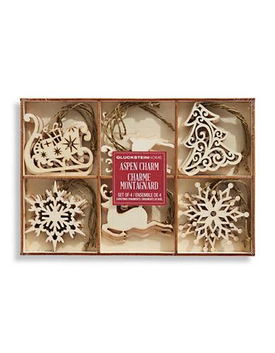 Glucksteinhome Aspen Charm Wood Ornament Set-BEIGE-One Size