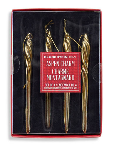 Glucksteinhome Aspen Charm Icicle Ornament Set-GOLD-One Size