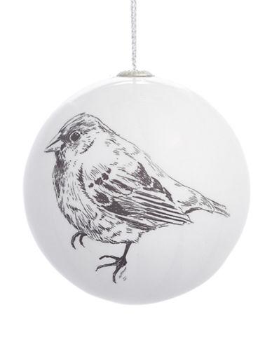 Glucksteinhome Noel Blanc Printed Bird Shatterproof Ornament-WHITE-One Size
