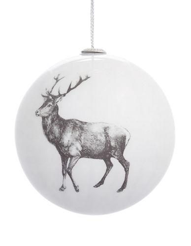 Glucksteinhome Noel Blanc Printed Reindeer Shatterproof Ornament-WHITE-One Size