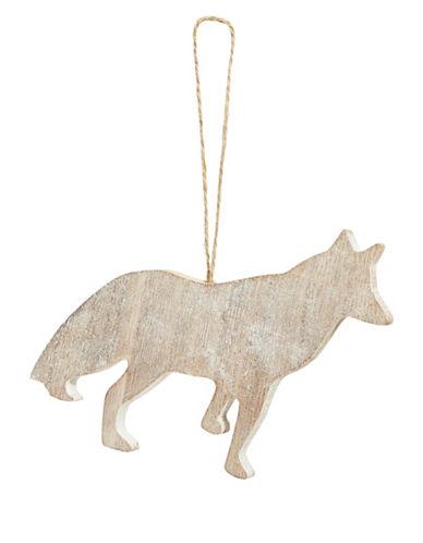 Glucksteinhome Noel Blanc Fox Cut-Out Wood Ornament-BEIGE-One Size