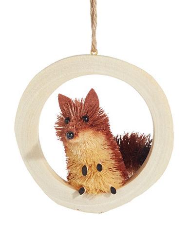 Christmas Street Winter Chalet Bristle Fox Wood Ornament-MULTI-One Size