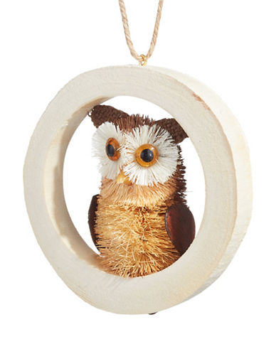 Christmas Street Winter Chalet Bristle Owl Ornament-NATURAL-One Size