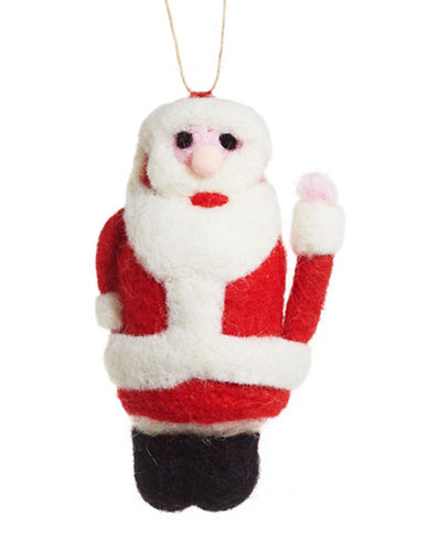 Christmas Street Winter Chalet Felt Santa Ornament-MULTI-One Size