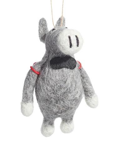 Christmas Street Winter Chalet Felt Donkey Ornament-MULTI-One Size