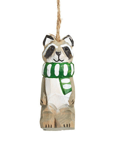 Christmas Street Winter Chalet Carved Raccoon Wood Ornament-MULTI-One Size